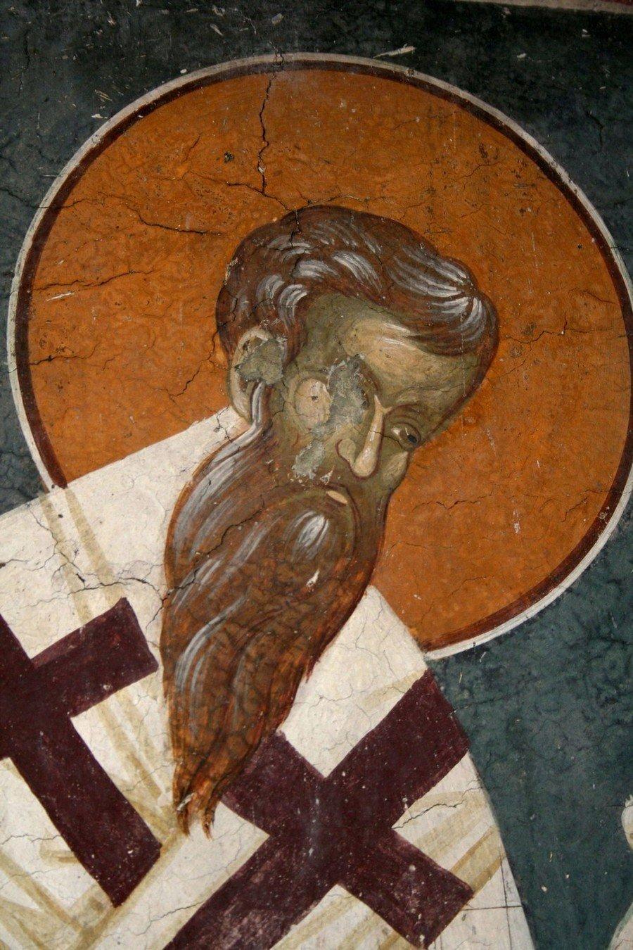 Святитель Григорий, Епископ Нисский. Фреска церкви Святого Никиты в Чучере близ Скопье, Македония. Около 1316 года. Иконописцы Михаил Астрапа и Евтихий.