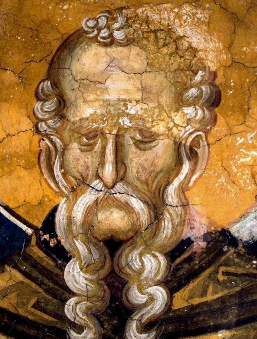 Святой Преподобный Феодосий Великий, общих житий начальник. Фреска монастыря Высокие Дечаны, Косово и Метохия, Сербия. До 1350 года.