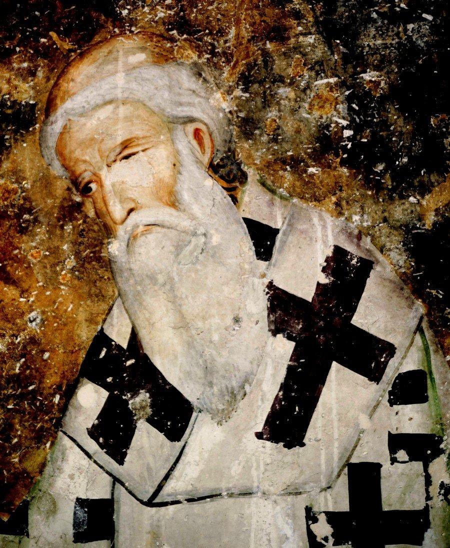 Святитель Савва, первый Архиепископ Сербский. Фреска церкви Святой Троицы в монастыре Сопочаны, Сербия. 1265 год.