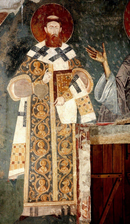 Святитель Савва, первый Архиепископ Сербский. Фреска церкви Богородицы Левишки в Призрене, Косово и Метохия, Сербия. Около 1310 - 1313 годов.