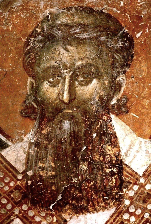 Святитель Савва, первый Архиепископ Сербский. Фреска церкви Святого Никиты в Чучере близ Скопье. Около 1316 года. Иконописцы Михаил Астрапа и Евтихий.