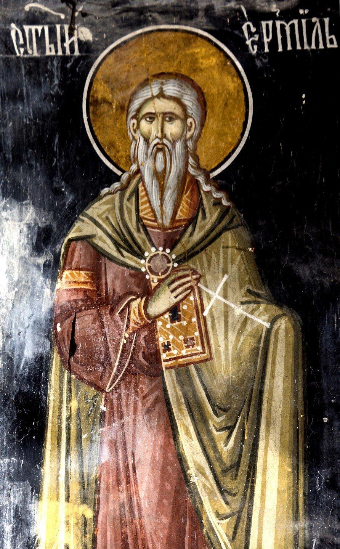Святой Мученик Ермил. Фреска церкви Богородицы в монастыре Студеница, Сербия. 1568 год.