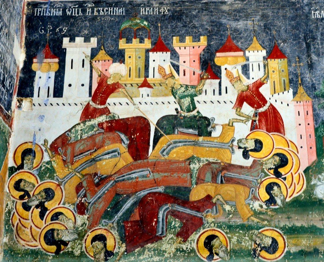 Святые Преподобные отцы, в Синае и Раифе избиенные. Фреска монастыря Сучевица, Румыния. Около 1600 года.