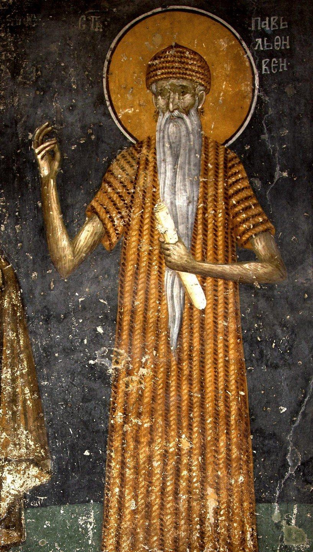 Святой Преподобный Павел Фивейский. Фреска монастыря Грачаница, Косово и Метохия, Сербия. Около 1320 года.