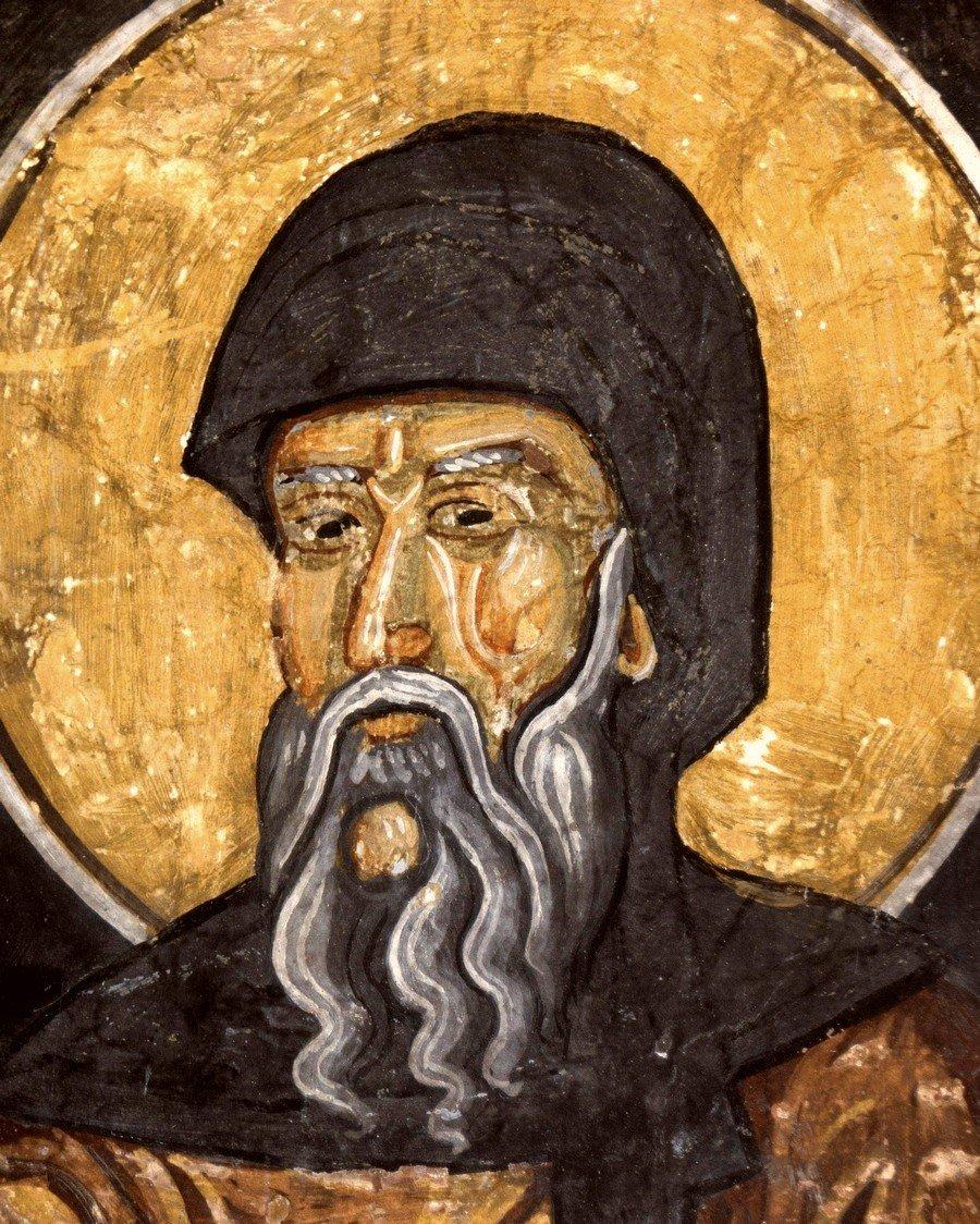 Святой Преподобный Антоний Великий. Фреска церкви Святых Константина и Елены в Охриде, Македония. 1477 год.