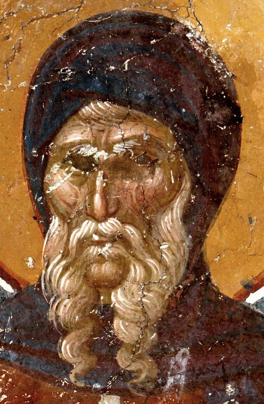 Святой Преподобный Антоний Великий. Фреска церкви Святого Никиты в Чучере близ Скопье, Македония. Около 1316 года. Иконописцы Михаил Астрапа и Евтихий.