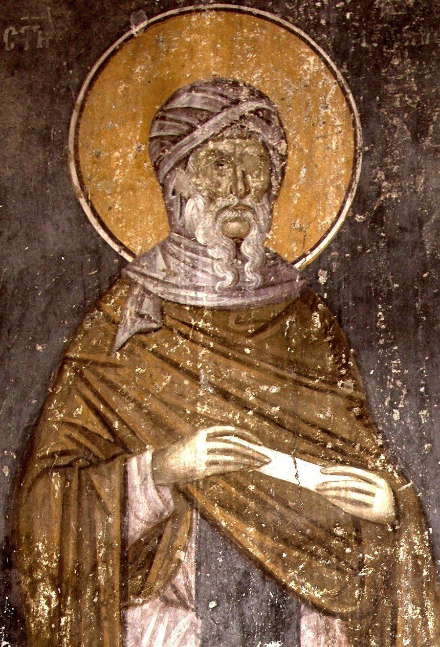 Святой Преподобный Антоний Великий. Фреска монастыря Грачаница, Косово и Метохия, Сербия. Около 1320 года.