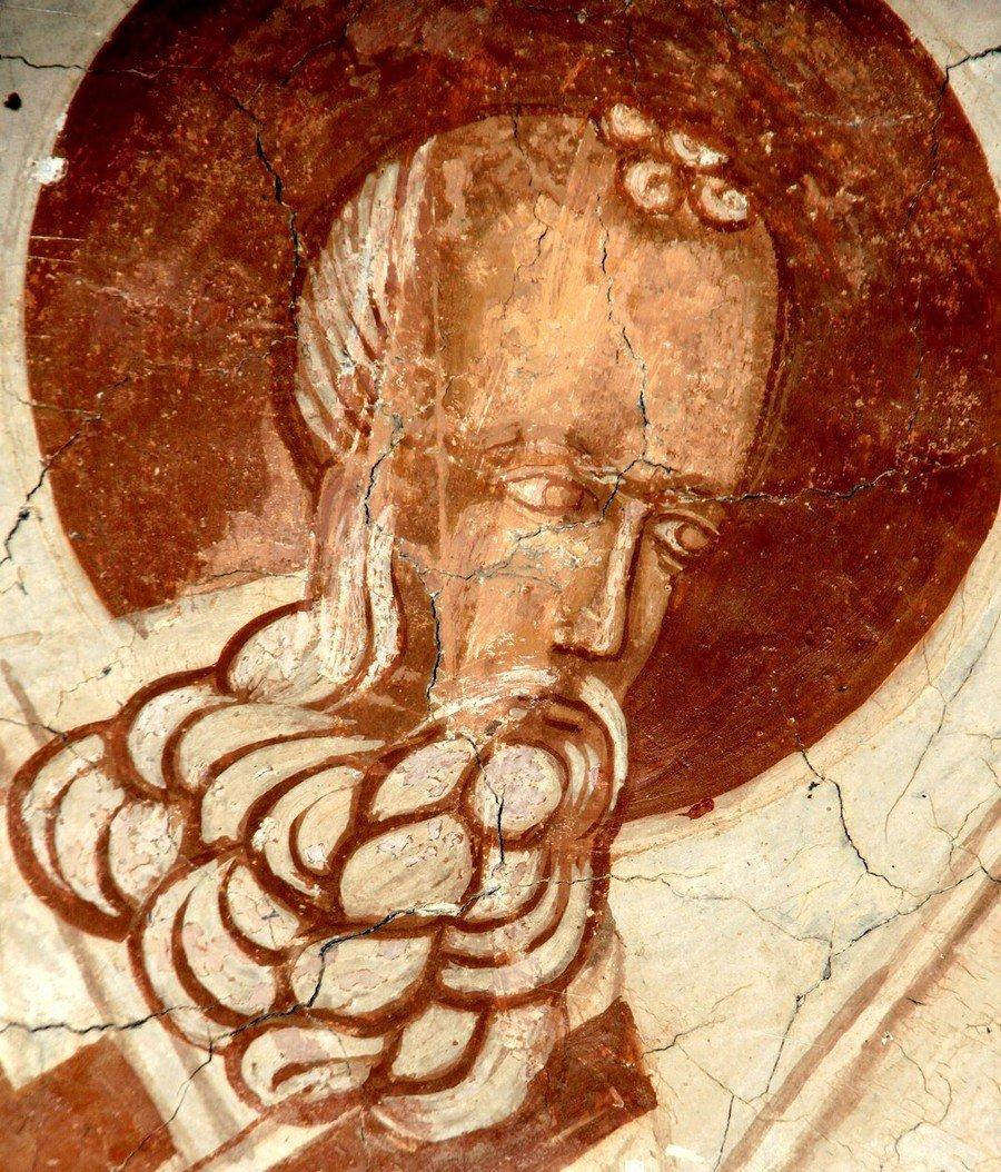 Святитель Афанасий Великий, Архиепископ Александрийский. Фреска церкви Святого Георгия в Призрене, Косово и Метохия, Сербия. XVI век.