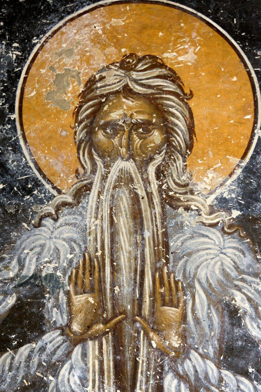 Святой Преподобный Макарий Великий, Египетский. Фреска церкви Преображения Господня в монастыре Зрзе, Македония. 1368 - 1369 годы.