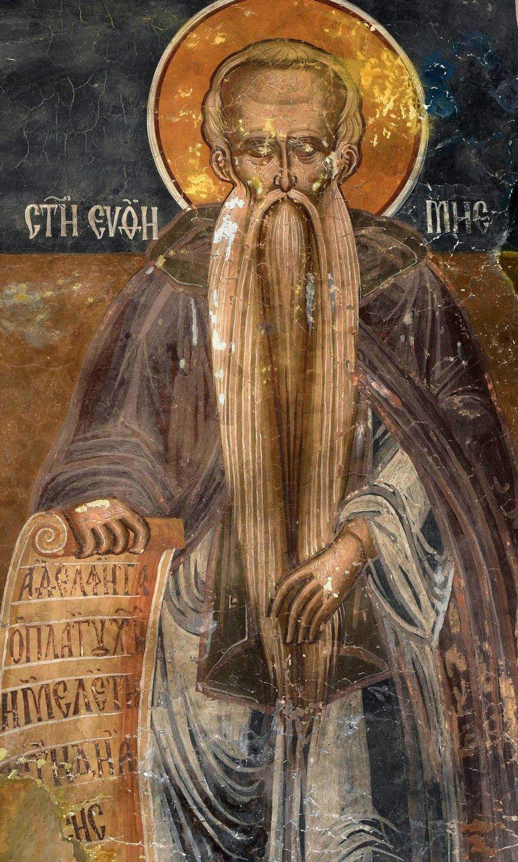 Святой Преподобный Евфимий Великий. Фреска монастыря Сливница, Македония. XVII век.