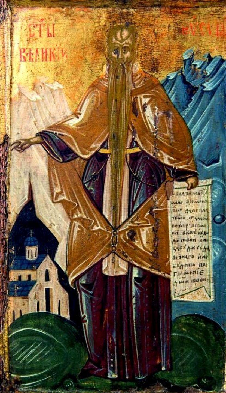 Святой Преподобный Евфимий Великий. Икона XVI века в монастыре Высокие Дечаны, Косово и Метохия, Сербия. Преподобный изображён благословляющим собор монастыря Высокие Дечаны.