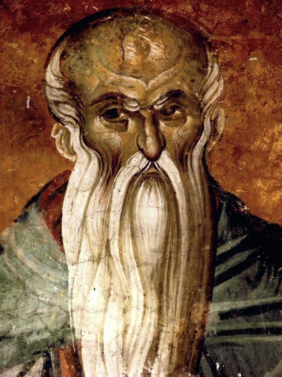 Святой Преподобный Евфимий Великий. Фреска монастыря Высокие Дечаны, Косово и Метохия, Сербия. До 1350 года.