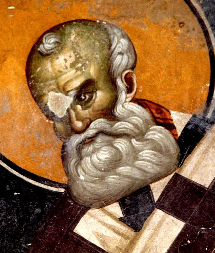 Святитель Григорий Богослов. Фреска церкви Святых Иоакима и Анны (Королевской церкви) в монастыре Студеница, Сербия. 1314 год.