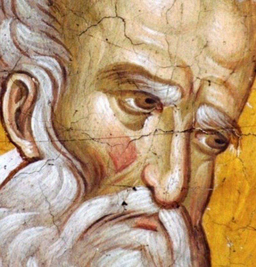 Святитель Григорий Богослов. Фреска монастыря Высокие Дечаны, Косово и Метохия, Сербия. До 1350 года.