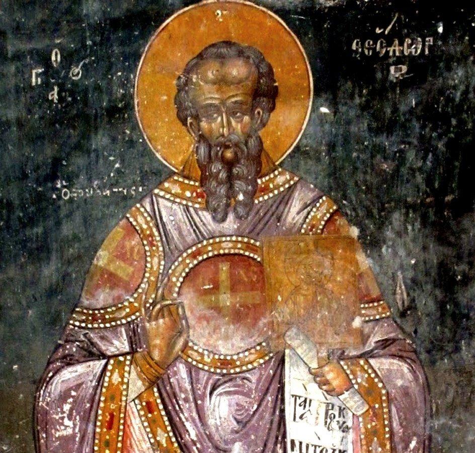 Святой Преподобный Феодор Студит, Исповедник. Фреска церкви Влахернской иконы Божией Матери в Берате, Албания.