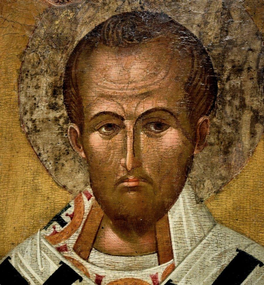 Святитель Иоанн Златоуст. Болгарская икона XV века. Фрагмент.
