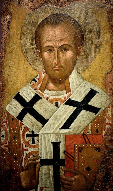 Святитель Иоанн Златоуст. Болгарская икона XV века.