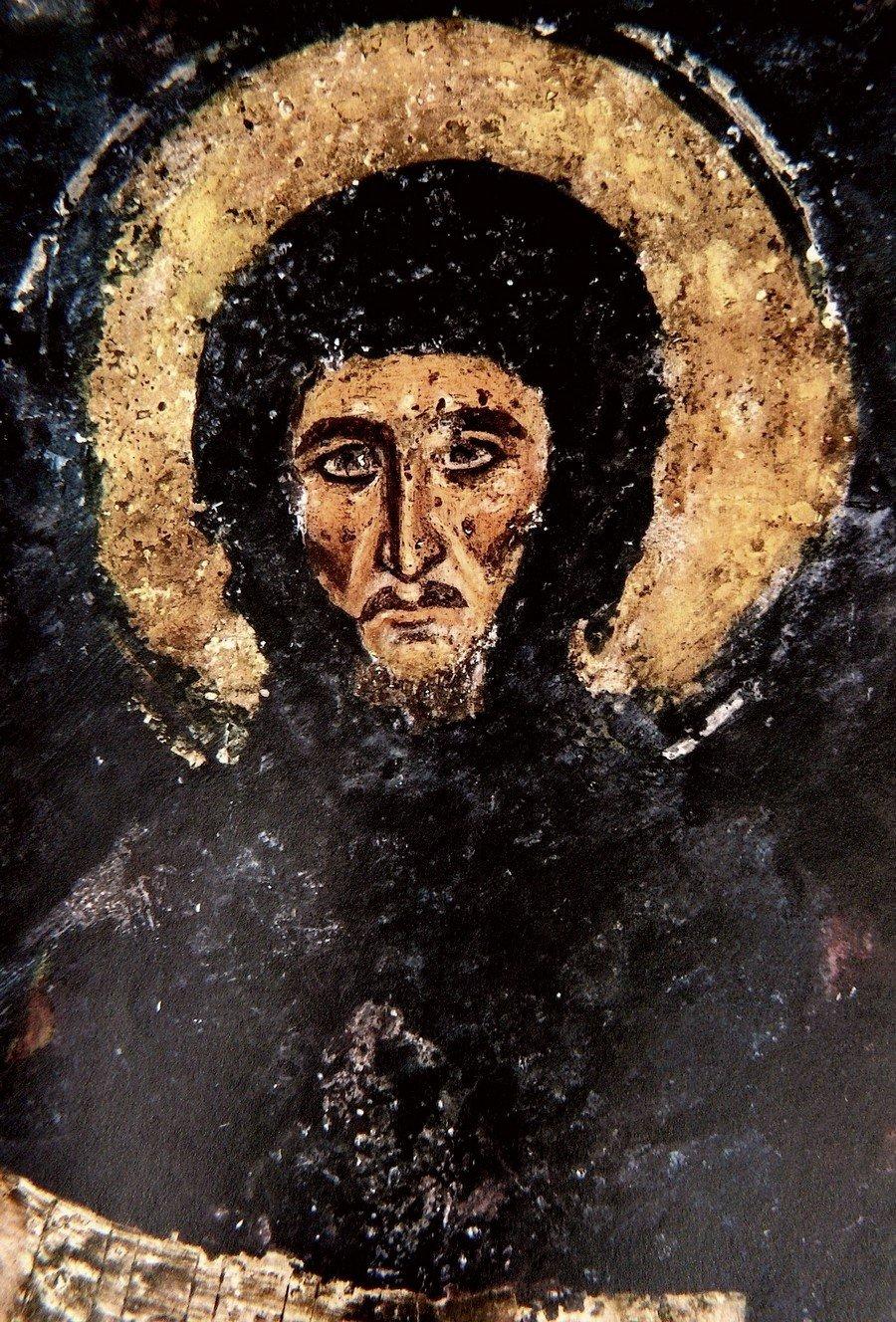 Святой Преподобный Ефрем Сирин. Фреска церкви Святых Николая и Пантелеимона (Боянской церкви) близ Софии, Болгария. 1259 год.