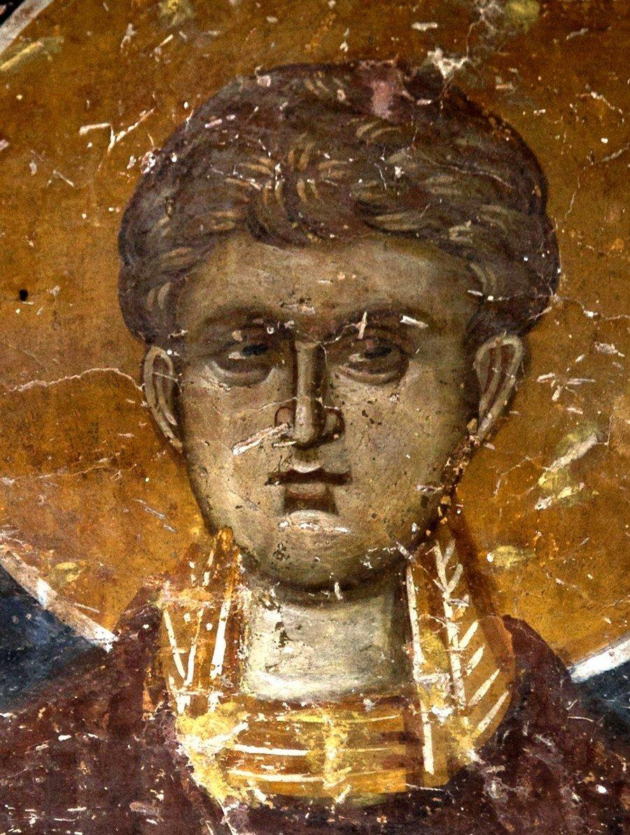 Святой Мученик Иоанн Александрийский, врач безмездный. Фреска церкви Спаса в Кучевиште, Македония. 1330 - 1340-е годы.