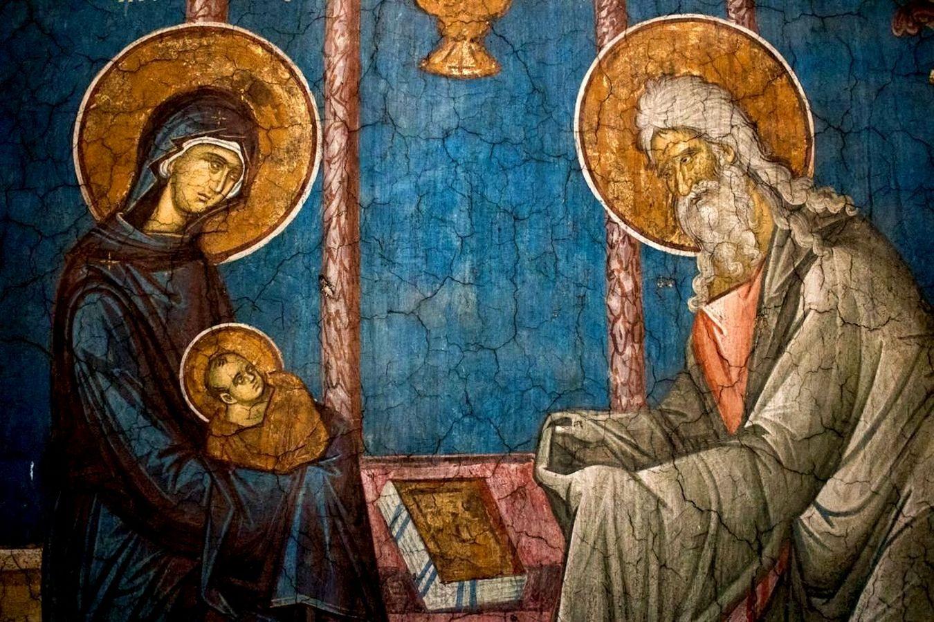 Сретение Господне. Фреска монастыря Высокие Дечаны, Косово и Метохия, Сербия. До 1350 года. Фрагмент.