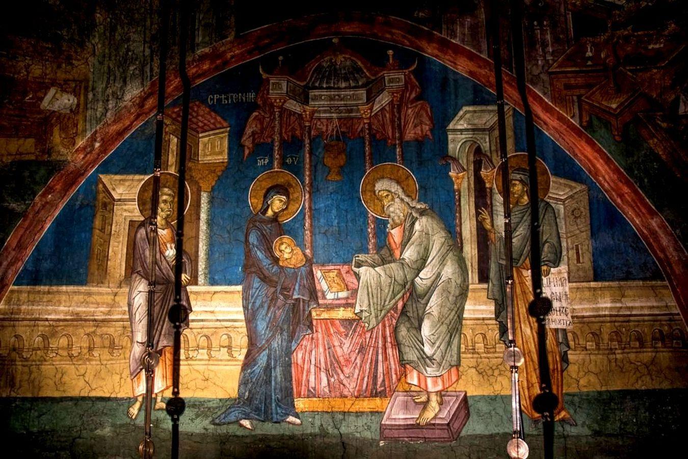 Сретение Господне. Фреска монастыря Высокие Дечаны, Косово и Метохия, Сербия. До 1350 года.