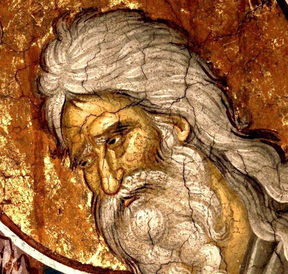"""Святой Праведный Симеон Богоприимец. Фрагмент фрески """"Сретение Господне"""". Монастырь Высокие Дечаны, Косово и Метохия, Сербия. До 1350 года."""