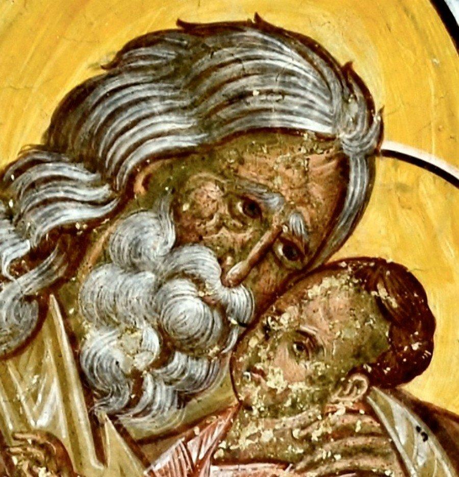 Святой Праведный Симеон Богоприимец. Фреска монастыря Воронец, Румыния. 1547 год.