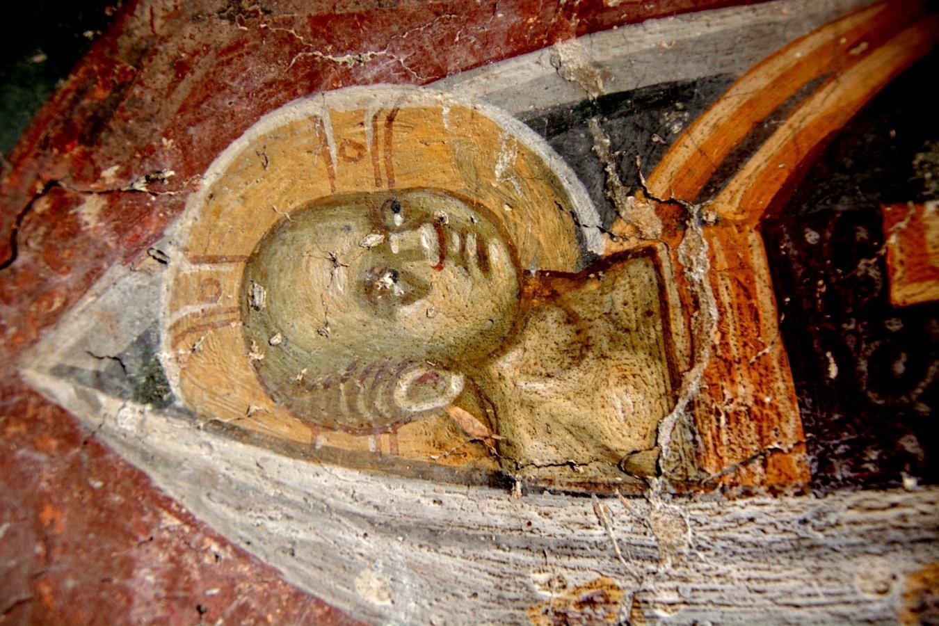 Христос Агнец Божий. Фреска церкви Святого Никиты в Чучере близ Скопье, Македония. Около 1316 года. Иконописцы Михаил и Евтихий. Фрагмент.