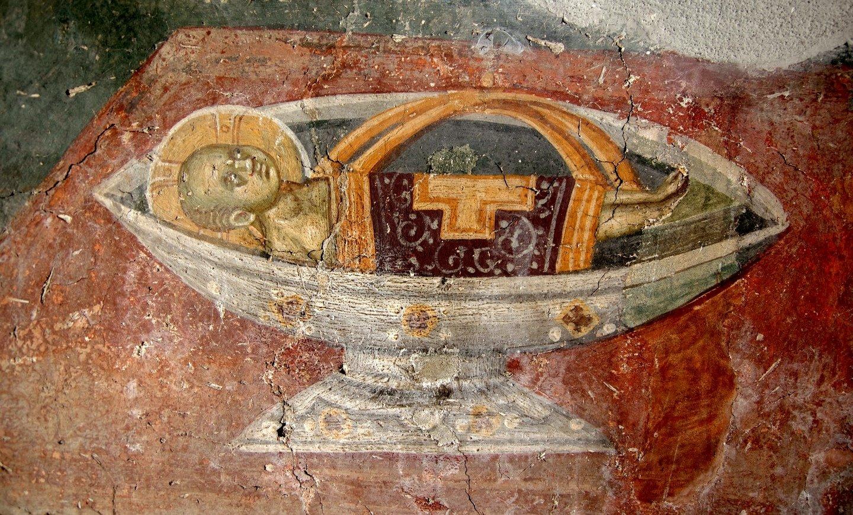 Христос Агнец Божий. Фреска церкви Святого Никиты в Чучере близ Скопье, Македония. Около 1316 года. Иконописцы Михаил и Евтихий.