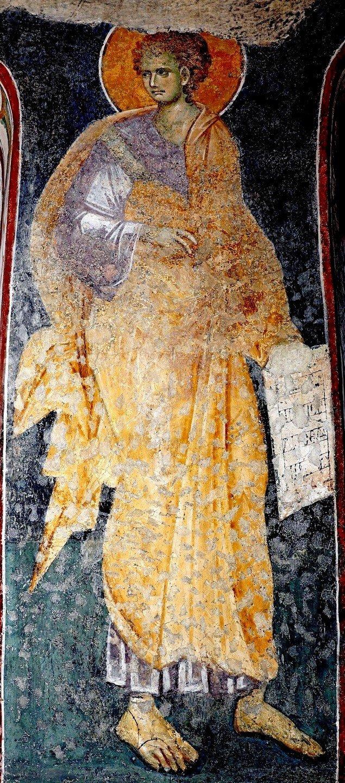 Святой Пророк Захария Серповидец. Фреска церкви Богородицы Левишки в Призрене, Косово и Метохия, Сербия. Около 1310 - 1313 годов. Иконописцы Михаил Астрапа и Евтихий.