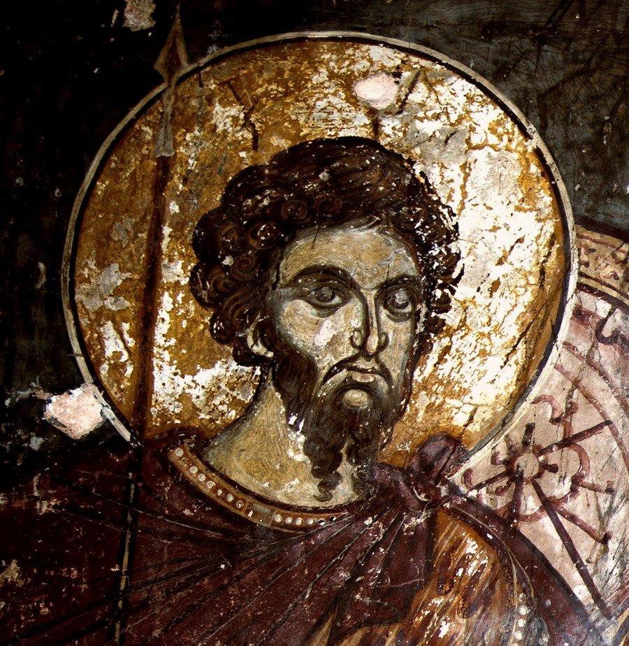 Святой Великомученик Феодор Стратилат. Фреска церкви Святого Димитрия в Охриде, Македония. XIV век.