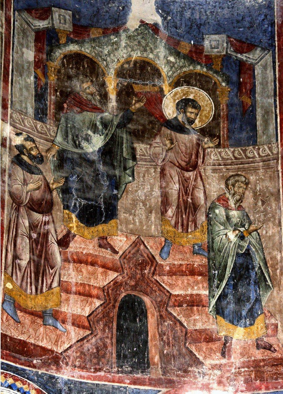 Притча о мытаре и фарисее. Фреска церкви Святой Троицы в монастыре Манасия, Сербия. До 1418 года.