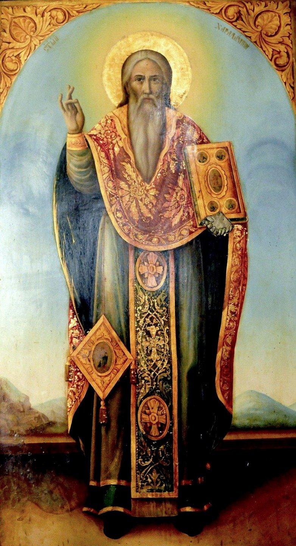 Священномученик Харалампий, Епископ Магнезийский. Икона. Церковь Святого Николая Чудотворца в Сливене, Болгария.
