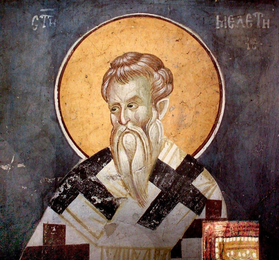 Святитель Мелетий, Архиепископ Антиохийский. Фреска монастыря Грачаница, Косово и Метохия, Сербия. Около 1320 года.