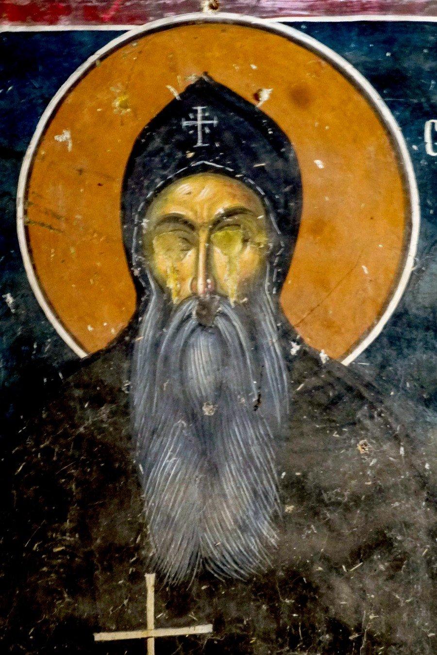 Святой Преподобный Симеон Мироточивый. Фреска церкви Святого Николая в монастыре Псача. 1365 - 1377 годы.