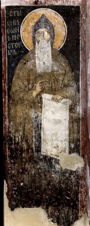Святой Преподобный Симеон Мироточивый. Фреска Белой церкви в селе Каран, Сербия. 1340 - 1342 годы.