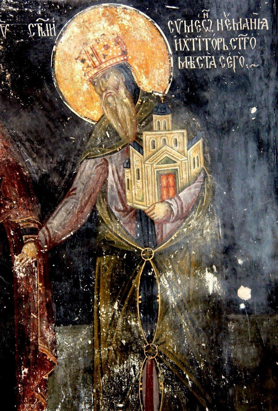 Святой Преподобный Симеон Мироточивый. Фреска церкви Богородицы в монастыре Студеница, Сербия. 1568 год.