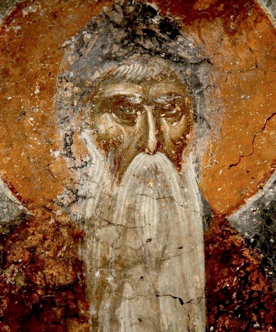 Святой Преподобный Симеон Мироточивый. Фреска церкви Святого Никиты в Чучере близ Скопье. Около 1316 года. Иконописцы Михаил Астрапа и Евтихий.