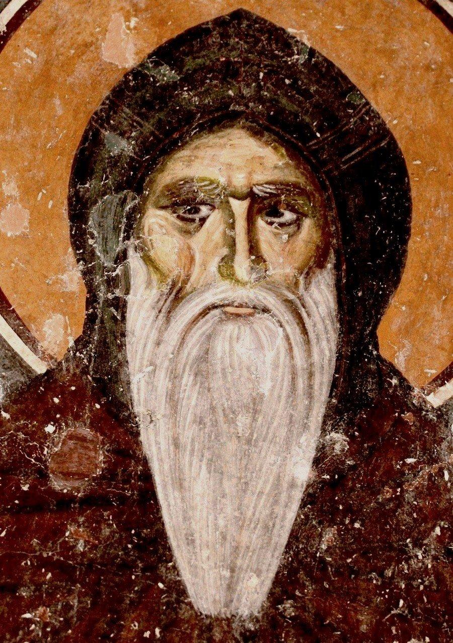 Святой Преподобный Симеон Мироточивый. Фреска придела Святого Симеона Немани церкви Святой Троицы в монастыре Сопочаны, Сербия. XIII век.