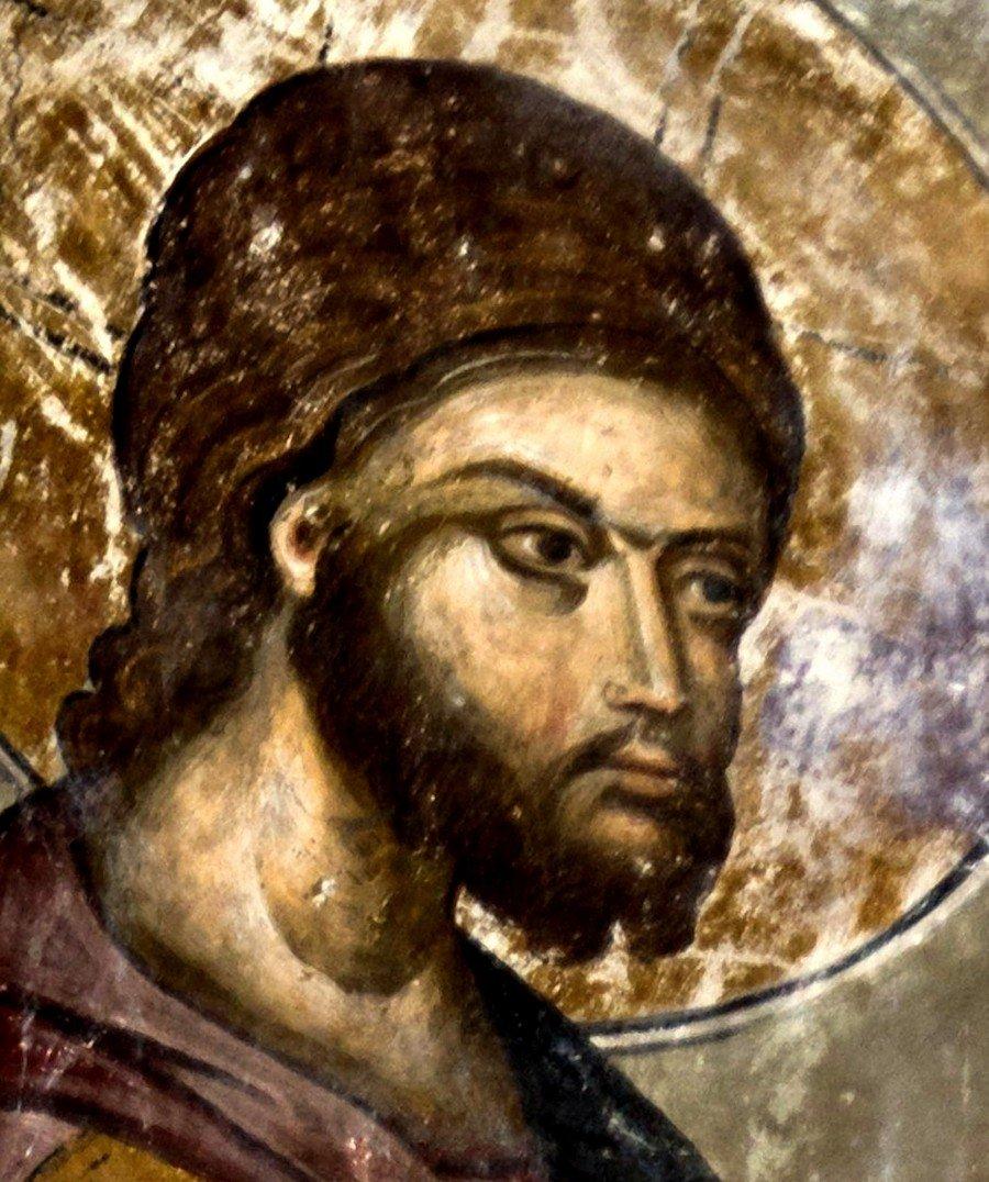 """Господь Иисус Христос, приемлющий покаяние грешника. Фрагмент фрески """"Притча о блудном сыне"""". Церковь Святой Троицы в монастыре Манасия, Сербия. До 1418 года."""