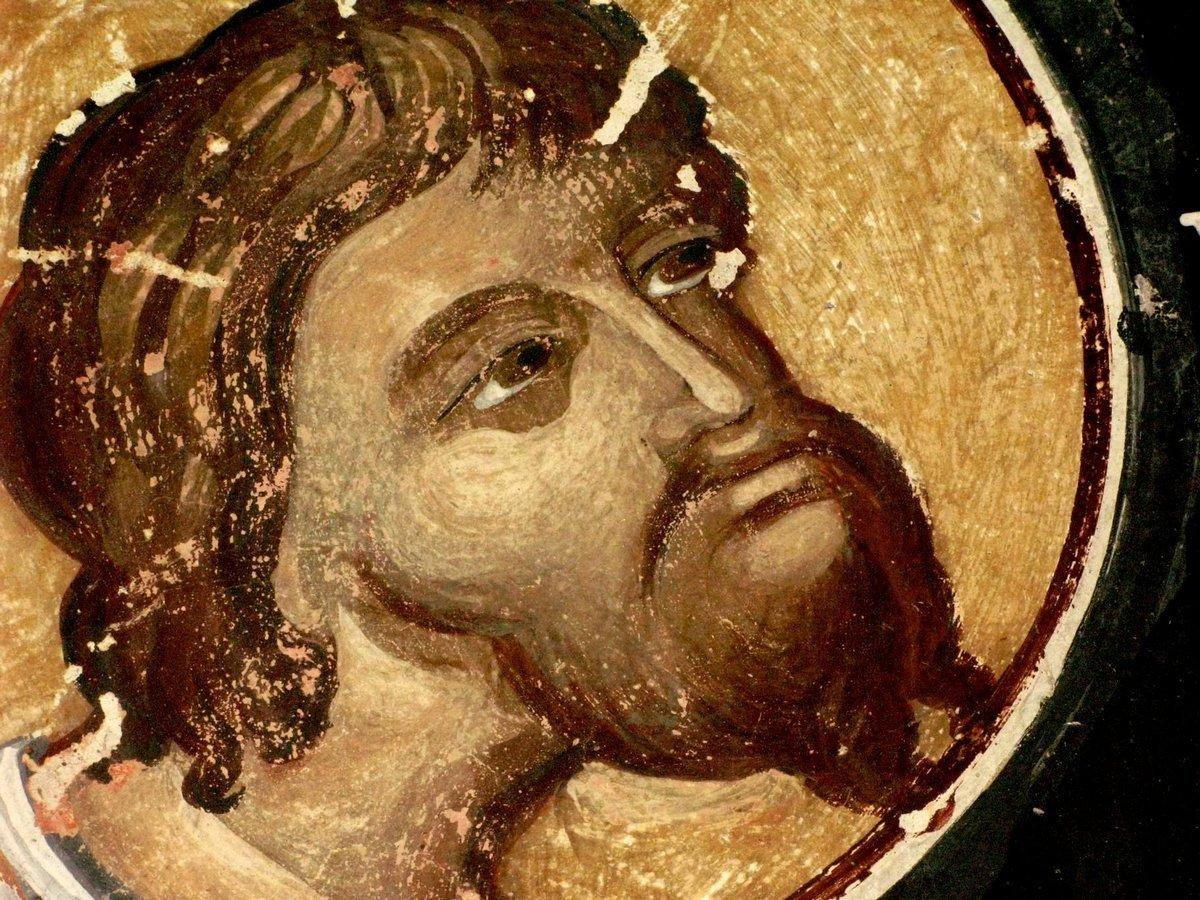Святой Великомученик Феодор Тирон. Фреска монастыря Святого Иоанна Богослова в Поганово, Сербия. Конец XV века.