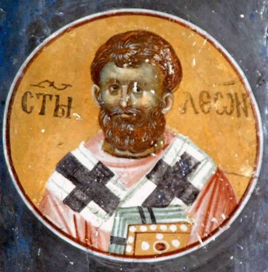 Святитель Лев, Папа Римский. Фреска церкви Святых Иоакима и Анны (Королевской церкви) в монастыре Студеница, Сербия. 1314 год.