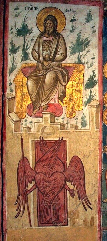 """Фрески из цикла """"Страшный Суд"""". Монастырь Высокие Дечаны, Косово и Метохия, Сербия. До 1350 года. Рай. Лоно Авраамово."""