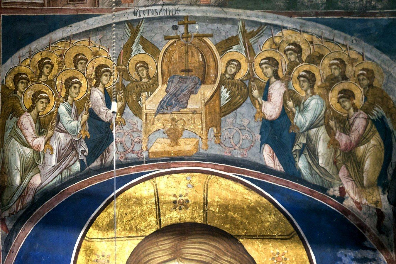 """Фрески из цикла """"Страшный Суд"""". Монастырь Высокие Дечаны, Косово и Метохия, Сербия. До 1350 года. Этимасия (Престол уготованный)."""