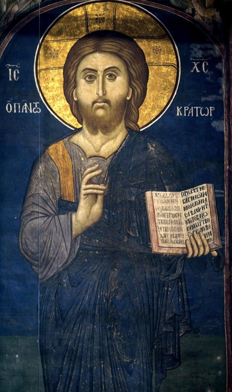 """Фрески из цикла """"Страшный Суд"""". Монастырь Высокие Дечаны, Косово и Метохия, Сербия. До 1350 года. Христос Пантократор (Вседержитель)."""
