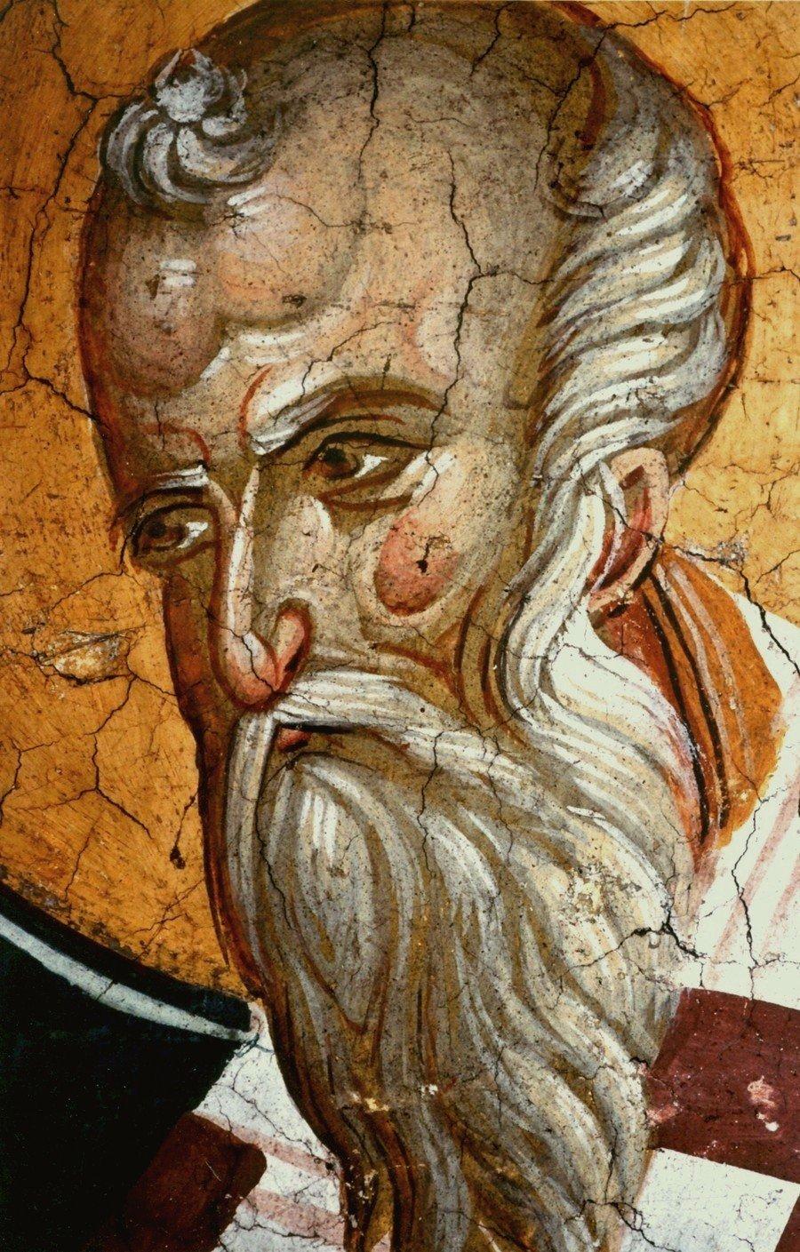 Священномученик Поликарп, Епископ Смирнский. Фреска монастыря Высокие Дечаны, Косово и Метохия, Сербия. До 1350 года.