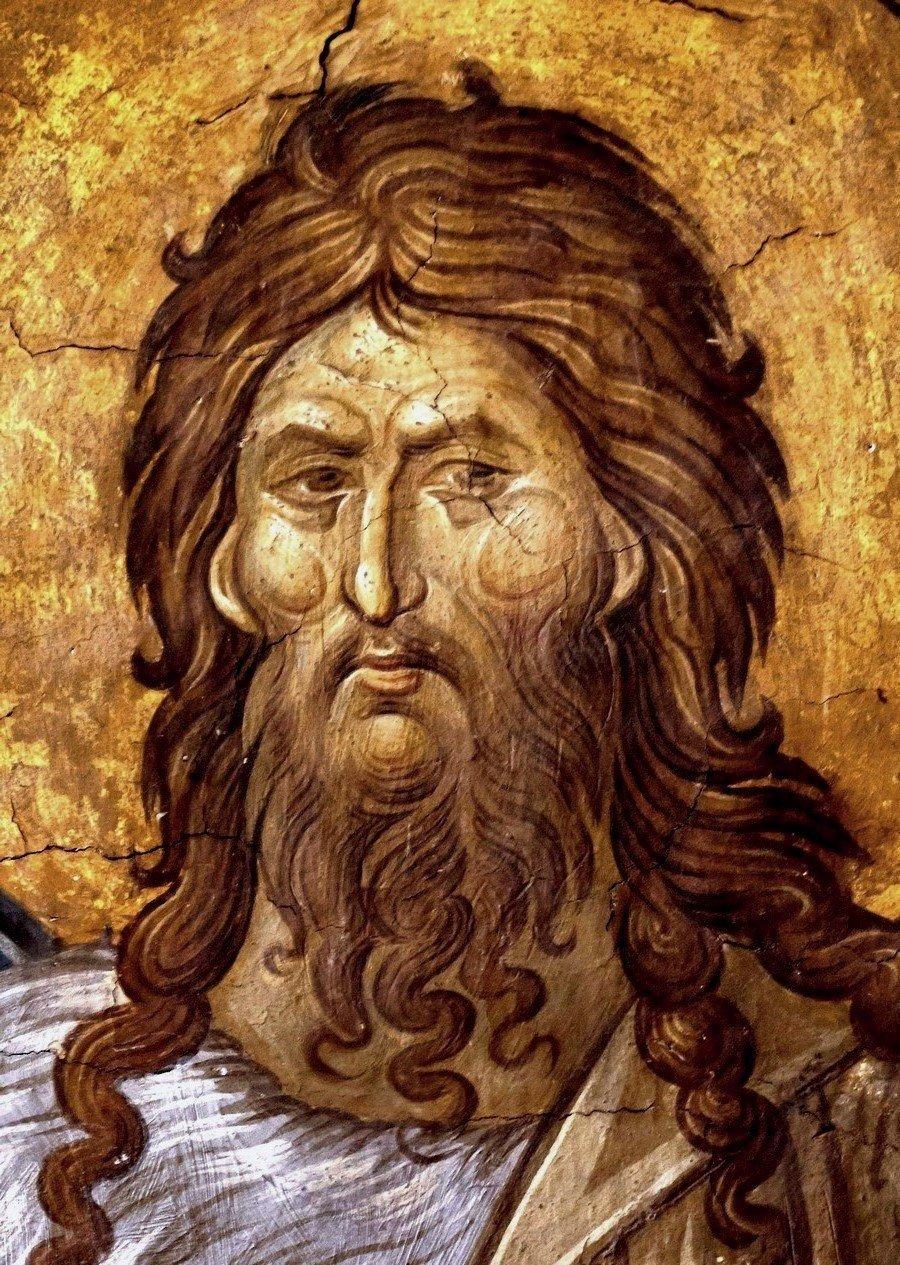 Святой Иоанн Предтеча. Фреска монастыря Высокие Дечаны, Косово и Метохия, Сербия. До 1350 года.