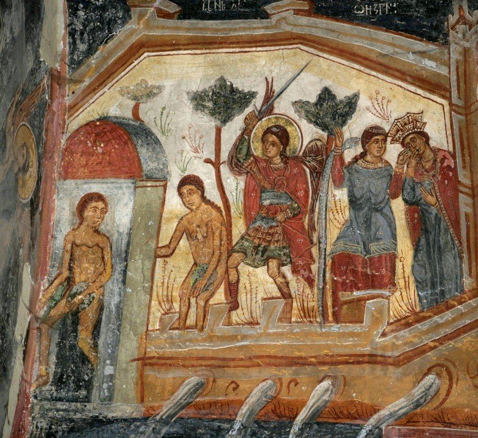 Изгнание Адама и Евы из Рая. Фреска церкви Святого Николая в селе Велика Хоча, Косово и Метохия, Сербия.