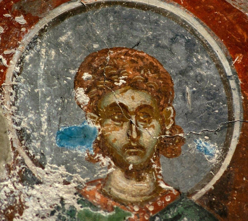 Святой Мученик Евтропий. Фреска церкви Преображения Господня в монастыре Зрзе, Македония. 1368 - 1369 годы.