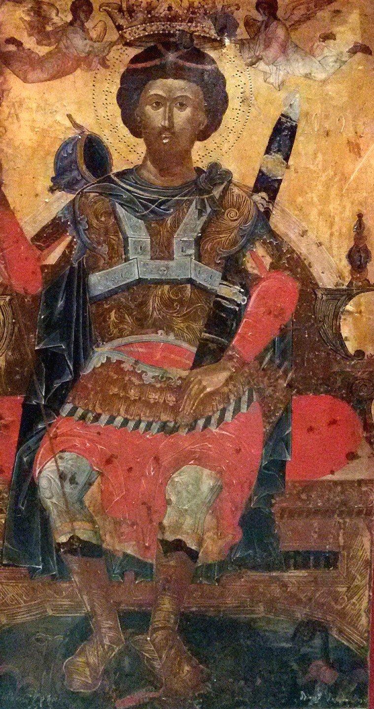Святой Великомученик Феодор Тирон. Икона 1663 года. Монастырь Слепче, Демир Хисар, Македония.
